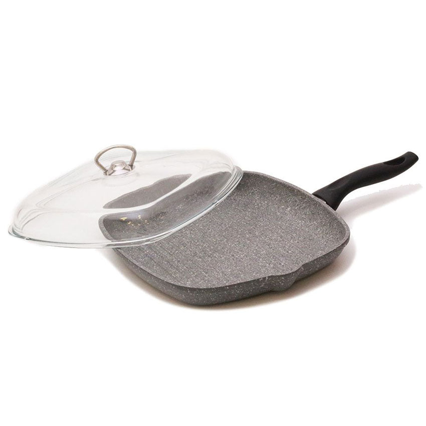 Falez Silico-Cast Gray Granitec Grill Pan With Lid
