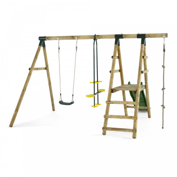 Plum Meerkat Wooden Garden Swing Set