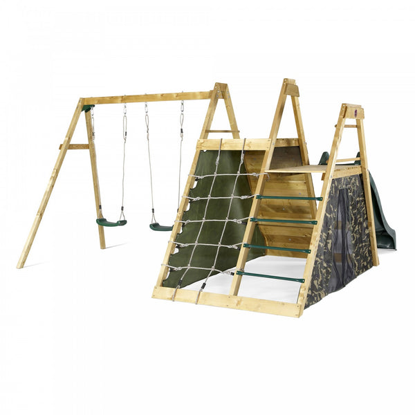 Plum Wooden Pyramid Climbing Frame With Swings