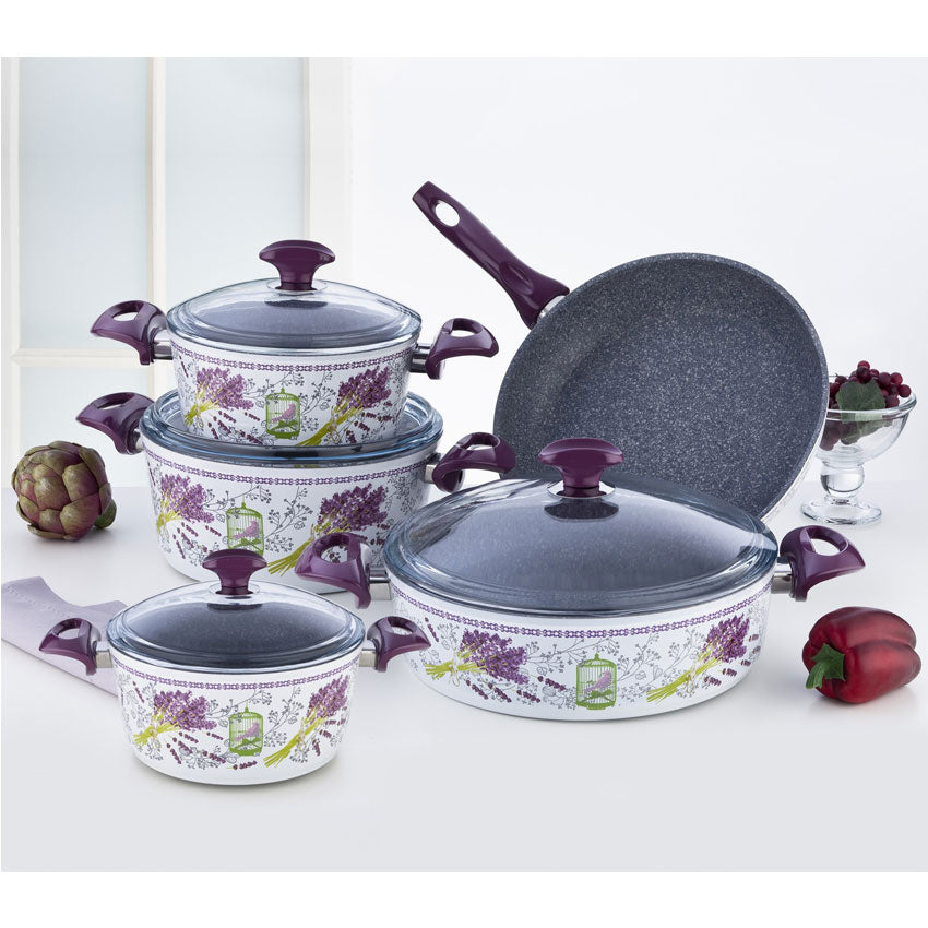 Falez Lavander Decorated Granitec 9Pcs Set