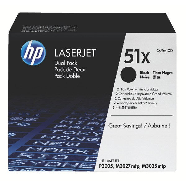 HP 51X 2-pack High Yield Black Original LaserJet Toner Cartridges - Gadgitechstore.com