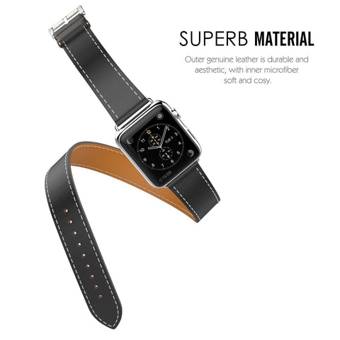 MoKo Luxury Genuine Leather Apple Watch Band Strap 38mm