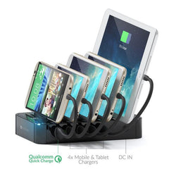 Satechi 5-Port USB Charging Station Dock with Qualcomm Certified Quick Charge 2.0