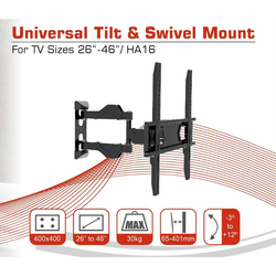 Conqueror Articulating TV's Stand 14''- 32'' Wall Mount - HA16