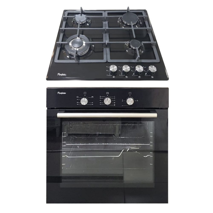 Perfetto 60cm Built In Oven  Full GAS + GRILL  Black