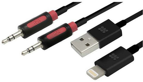 Promate Apple Lightning Sync & Charge Cable with Audio Line-in Cable - Gadgitechstore.com