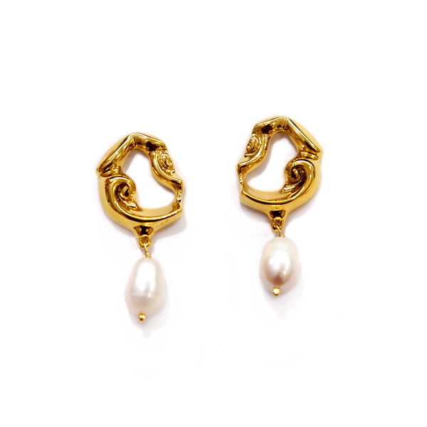 Abstract Gold Pearl Earrings