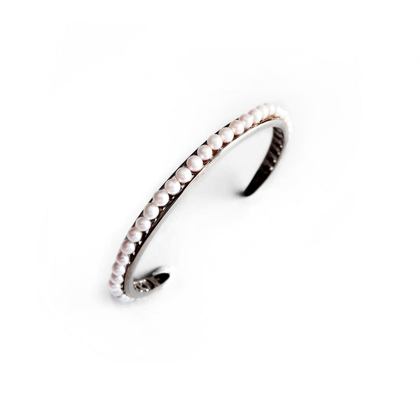 Chainless Brain - Pearls Bangle (Dark Rhodium)