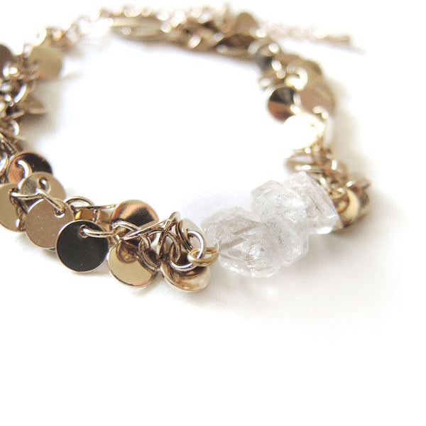 Herkimer Diamonds Gold Bracelet - Chainless Brain