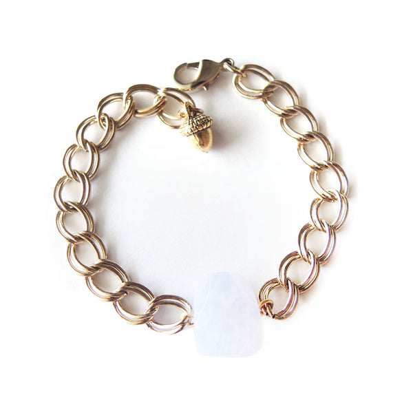 Blue Lace Agate Gold Bracelet - Chainless Brain