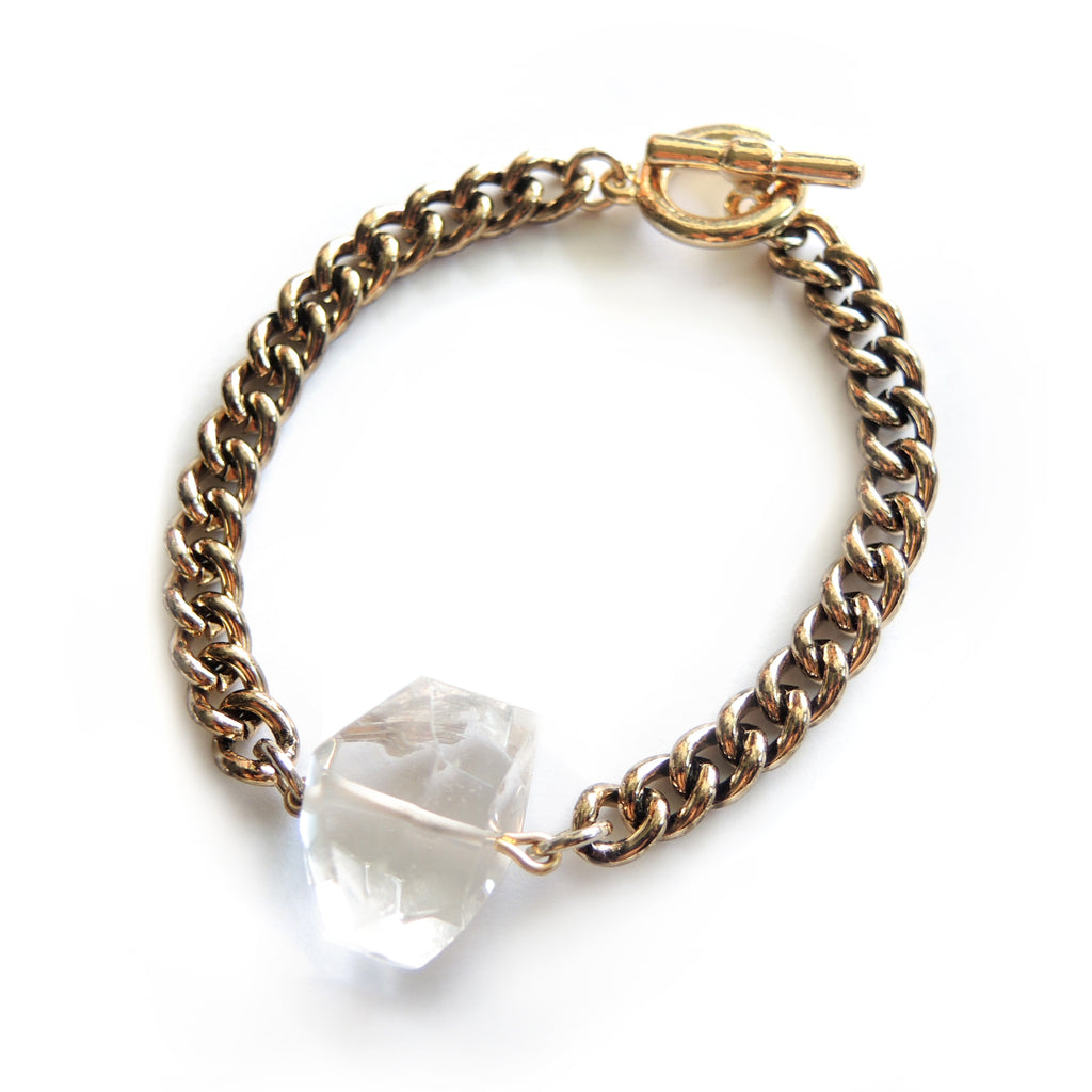 Clear Quartz Antique Gold Bracelet - Chainless Brain - 1
