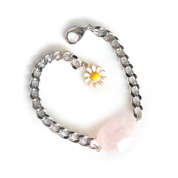 Rose Quartz Silver Bracelet - Chainless Brain