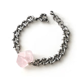 Rose Quartz Dark Silver Bracelet - Chainless Brain