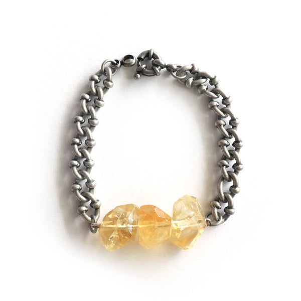 Citrine Silver Bracelet - Chainless Brain