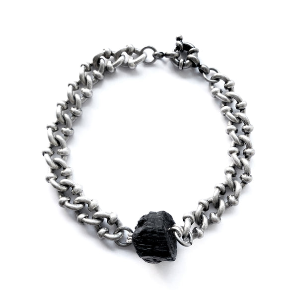 Black Tourmaline Dark Silver Bracelet - Chainless Brain