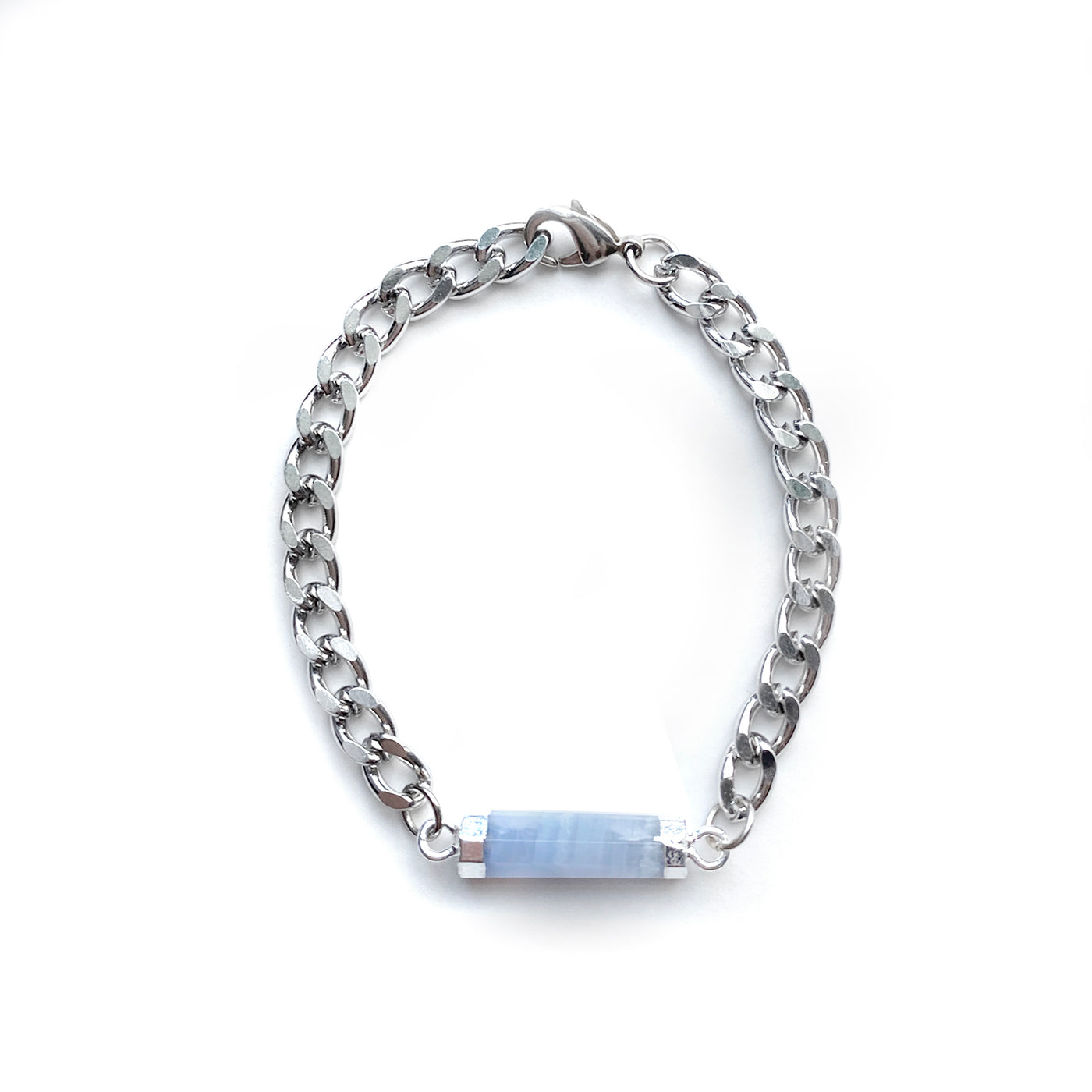 Blue Lace Agate Silver Bracelet - Chainless Brain