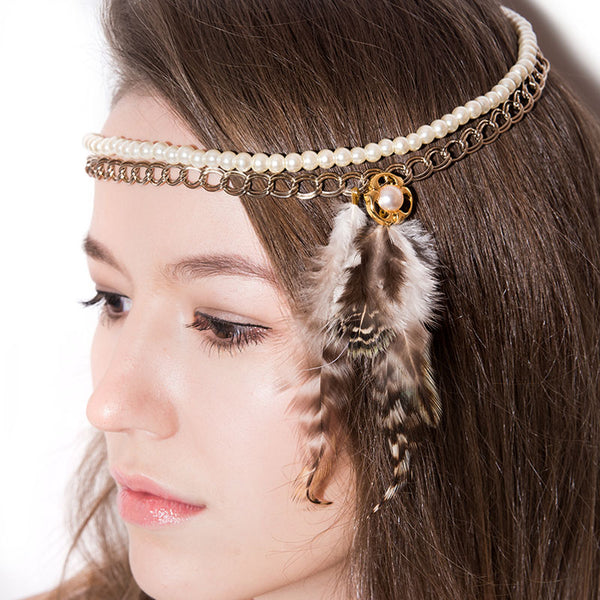 Side Feather and Pearls Headpiece - Chainless Brain