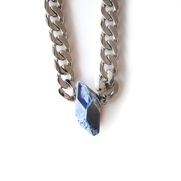 Aura Quartz Curb Necklace - Chainless Brain