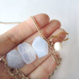 Blue Agate Gold Necklace - Chainless Brain