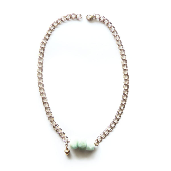 Amazonite Gold Necklace - Chainless Brain