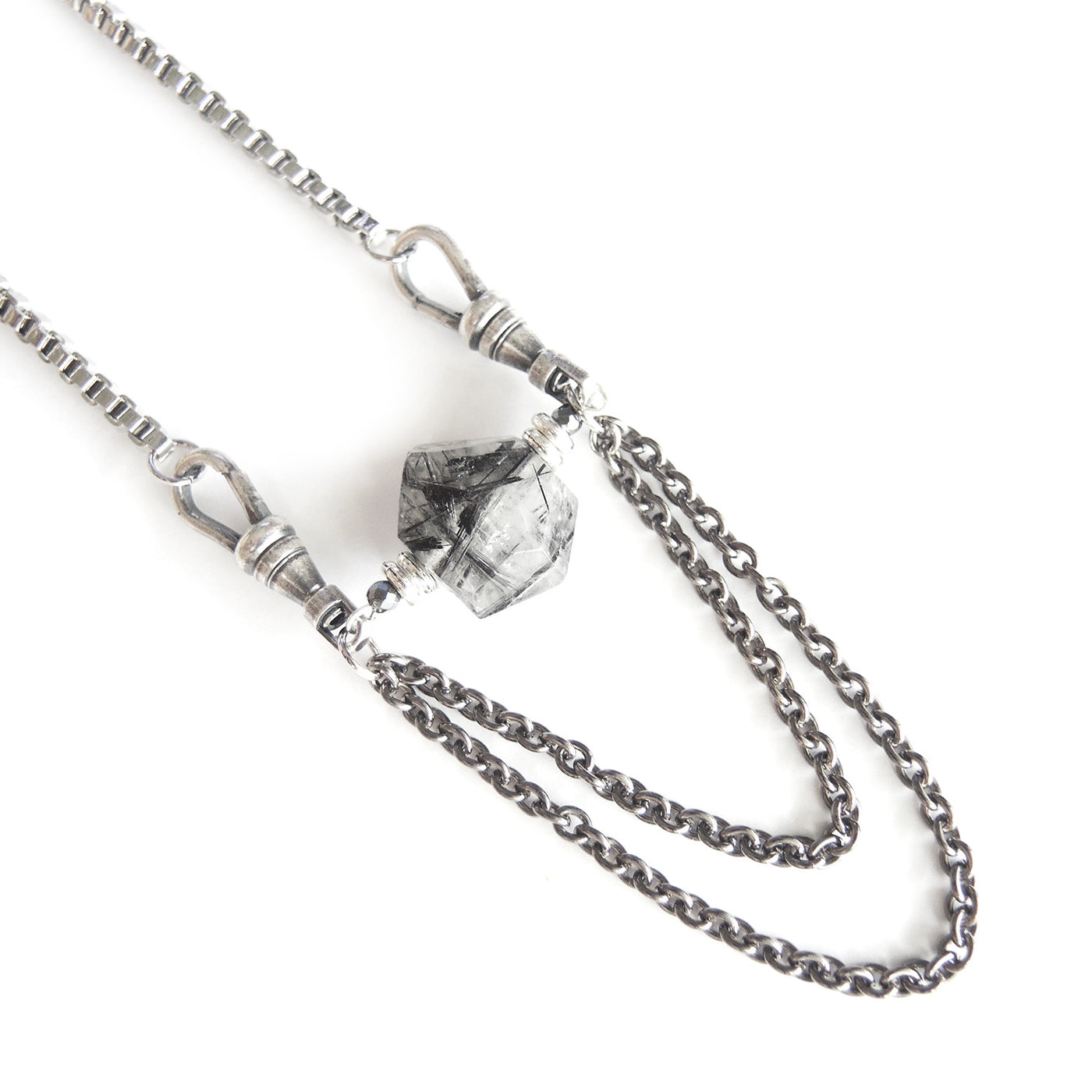 Black Rutilated Quartz Necklace - Chainless Brain