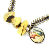 Blue Tit Gold Titanium Quartz Necklace - Chainless Brain - 2