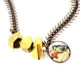 Blue Tit Gold Titanium Quartz Necklace - Chainless Brain - 3