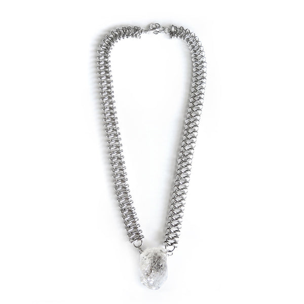 Chunky Herkimer's Diamonds Necklace (Silver) - Chainless Brain - 1