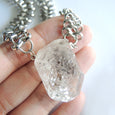 Chunky Herkimer Diamonds Necklace (Silver) - Chainless Brain
