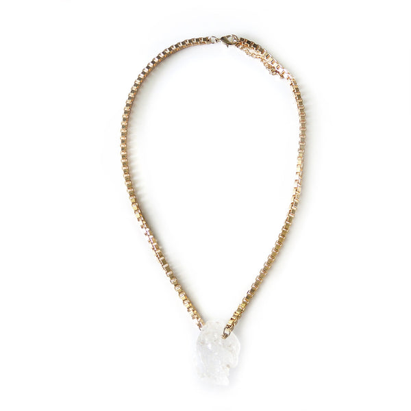 Herkimer Diamond Gold Necklace - Chainless Brain