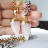 Pink Quartz Bullet Necklace