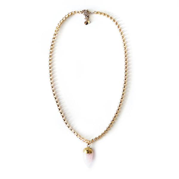 Rose Quartz Bullet Necklace - Chainless Brain