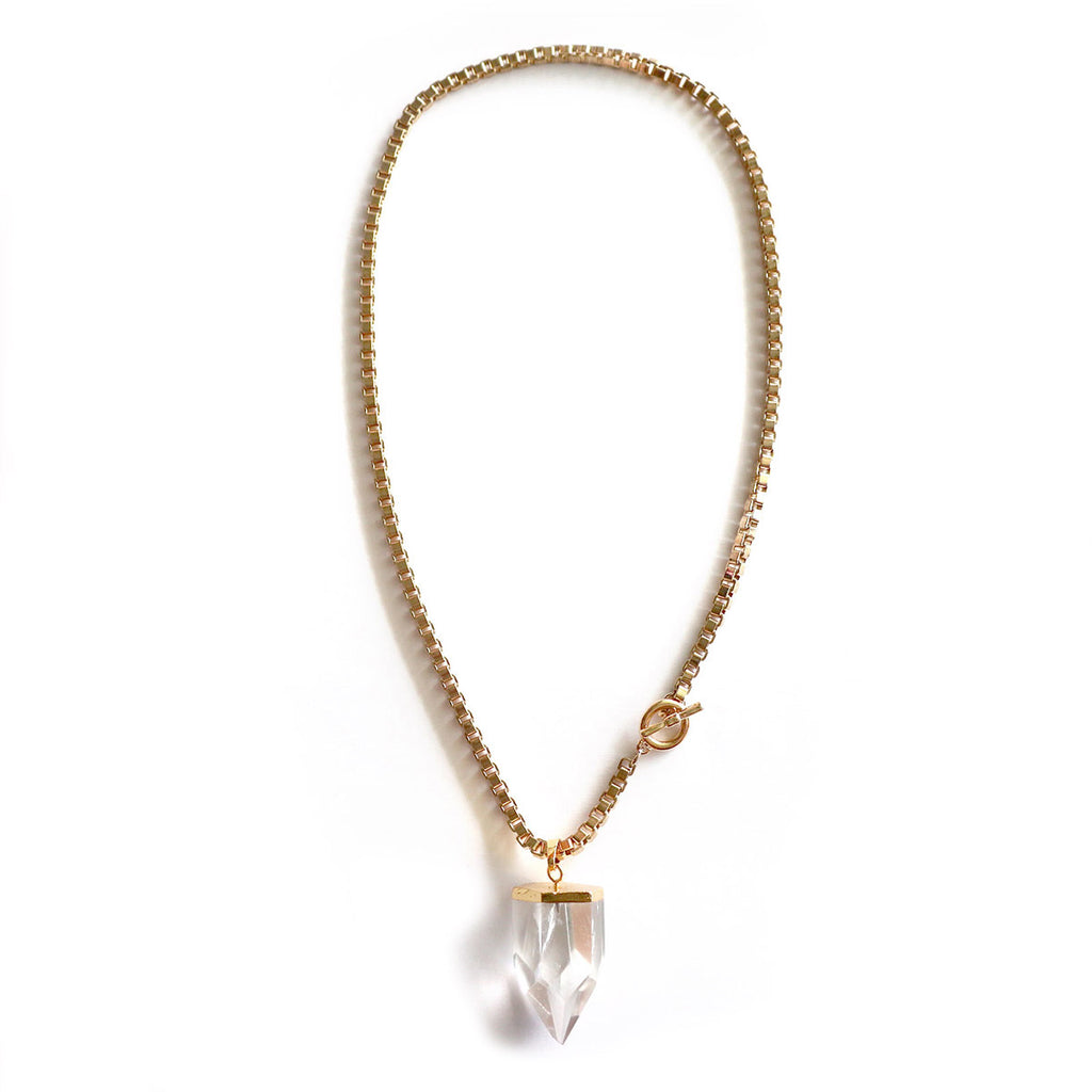 Chainless Brain - Clear Quartz Chunky Gold Necklace