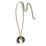 Black Agate Ox Horn Necklace