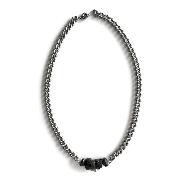 Black Tourmaline Dark Silver Necklace - Chainless Brain