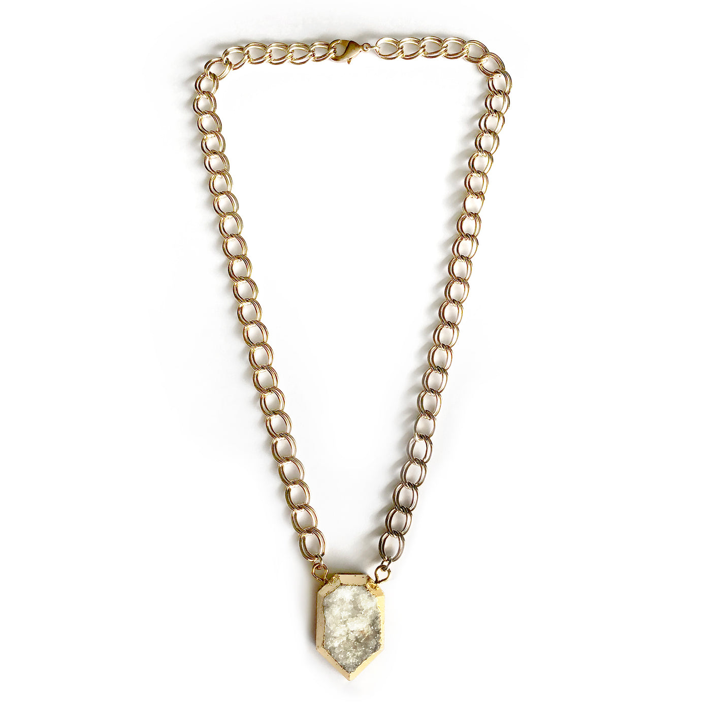 Clear Quartz Gold Statement Necklace - Chainless Brain