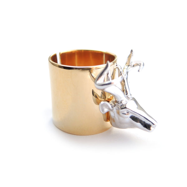 Chainless Brain - Reindeer Ring - 18K Yellow Gold Plated