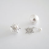 Detachable Snowflake Earrings (Pearl) - Chainless Brain - 1