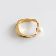 Pearl Facet Ring (Yellow Gold) - Chainless Brain