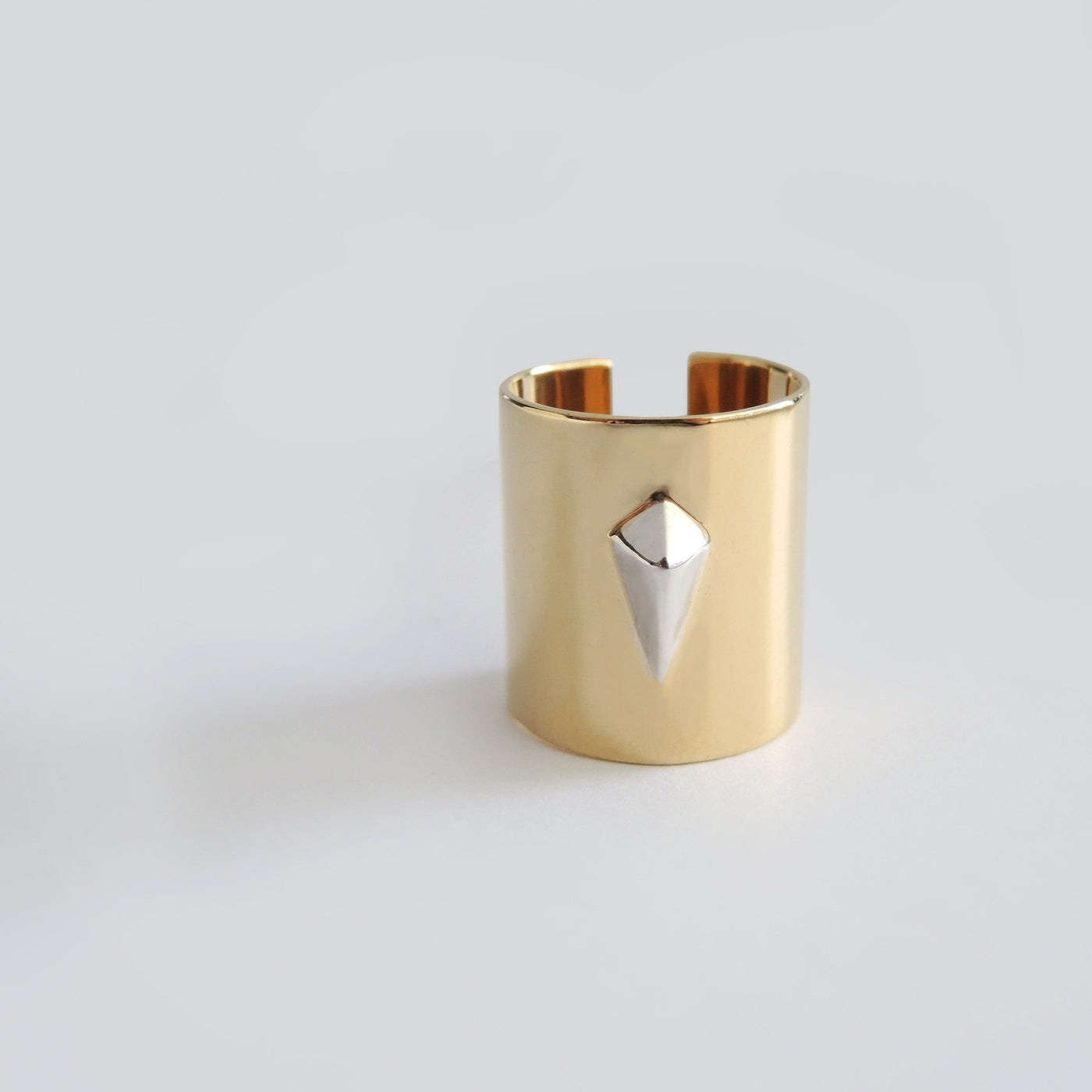 Diamond Tube Ring (Yellow Gold) - Chainless Brain