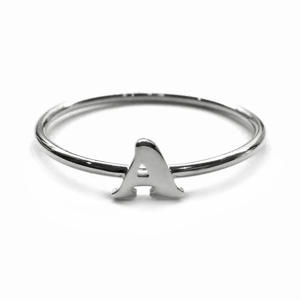 Alphabet Ring A - M (Black Silver) - Chainless Brain