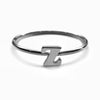 Alphabet Ring N - Z, & (Black Silver) - Chainless Brain - 14