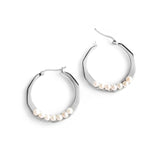 Pearls Facets Hoop Earrings - Chainless Brain