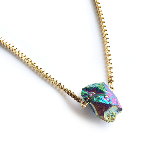Aura Quartz Necklace (Gold) - Chainless Brain