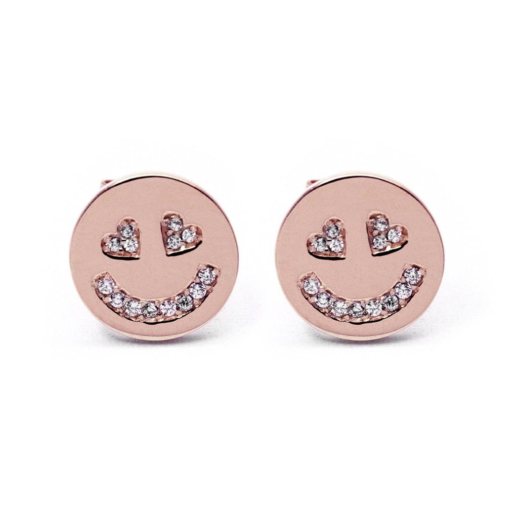 In Love Face Earrings (Rose Gold) - Chainless Brain