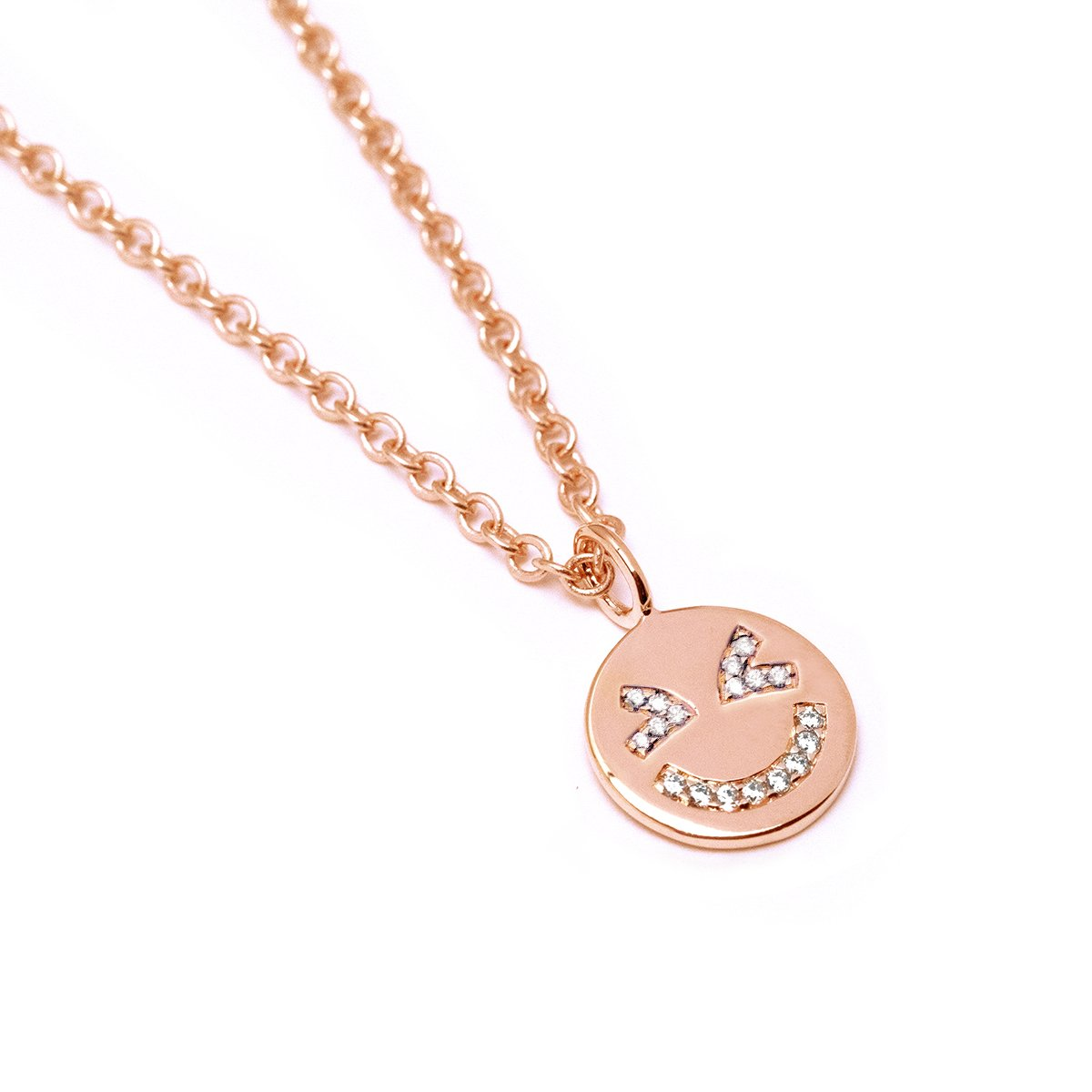 Laughing Face Necklace (Rose Gold) - Chainless Brain
