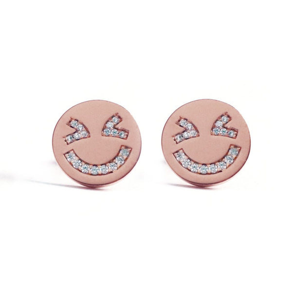 Laughing Face Earrings (Rose Gold)