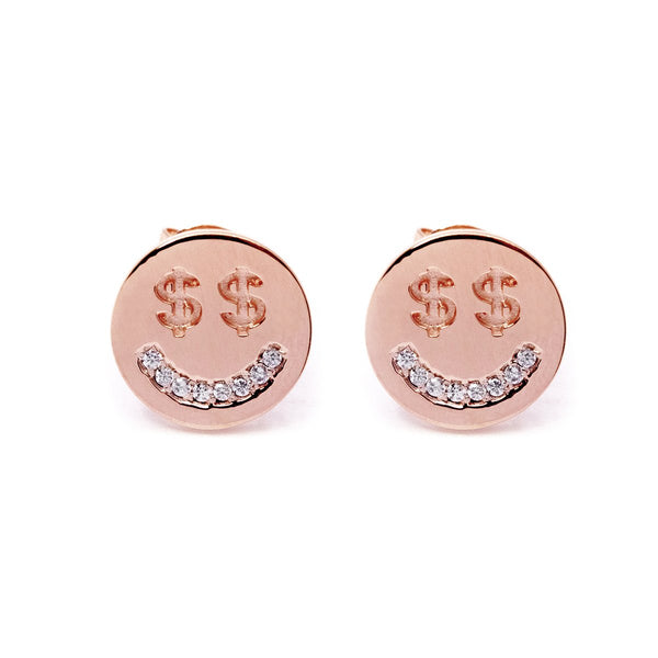 Money Face Earrings (Rose Gold) - Chainless Brain