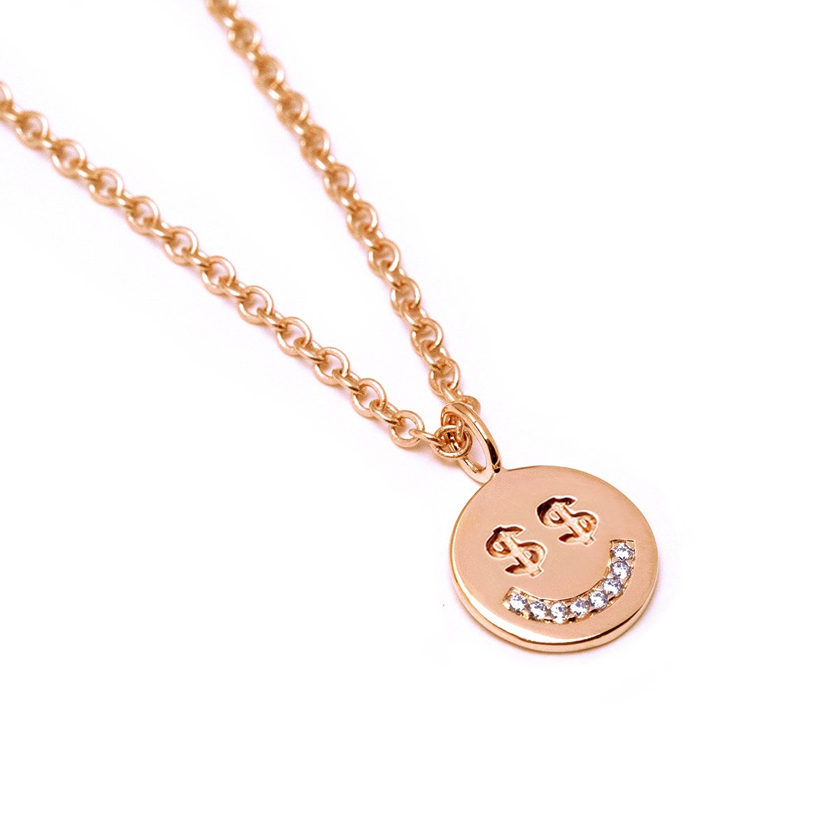 Money Face Necklace (Rose Gold) - Chainless Brain