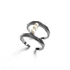 Pearls Bar Ring Dark Rhodium Plated
